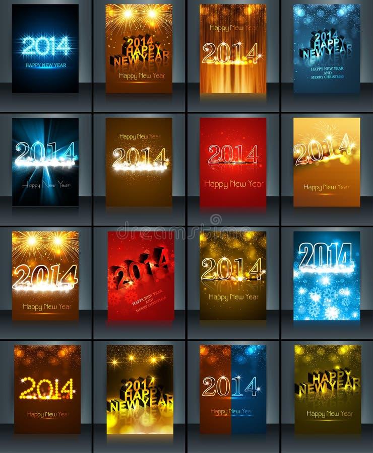 Colección 2014 del folleto de la plantilla de la celebración del Año Nuevo libre illustration