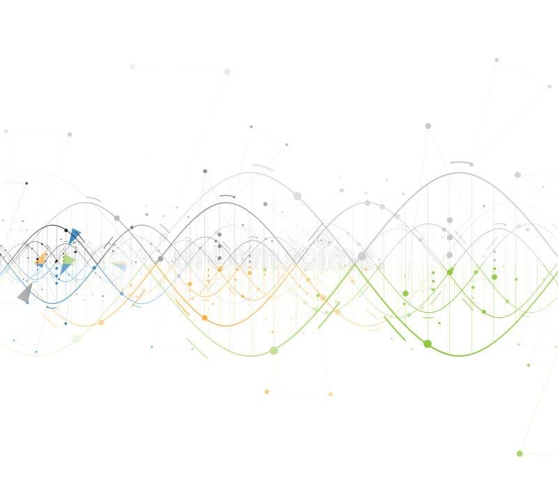 Colección del fondo del extracto de la DNA Interf futurista de la tecnología stock de ilustración