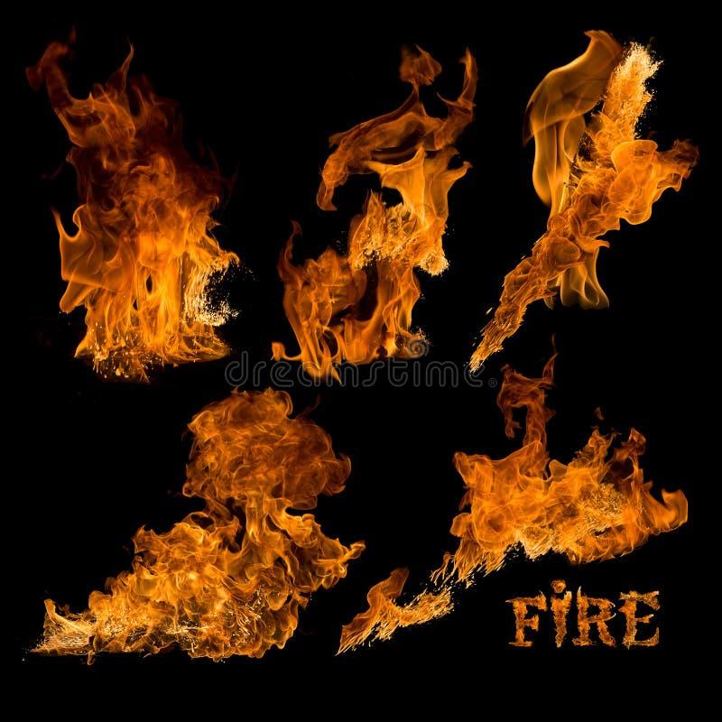 Colección del fuego aislada imagenes de archivo