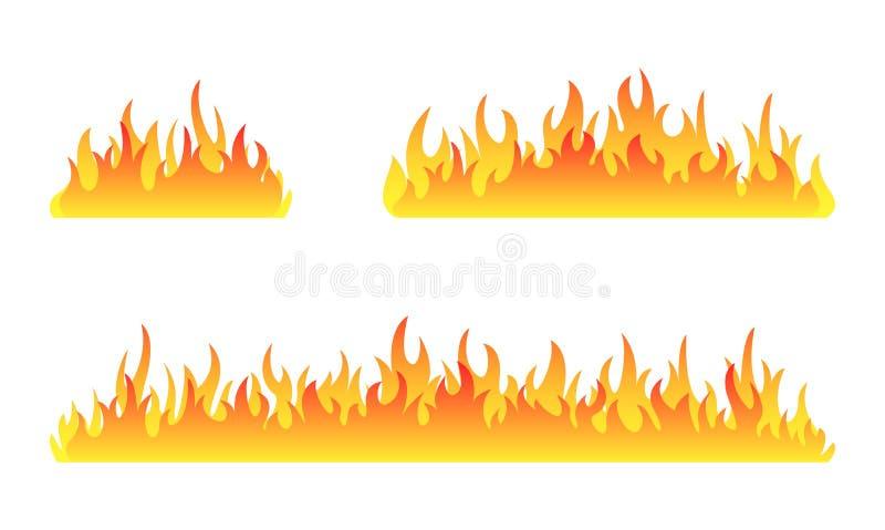 Colección del fuego Sistema del vector de las llamas del fuego Sistema de la bandera del fuego Ilustración del vector libre illustration