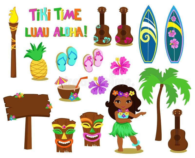 Colección del Hawaiian del ejemplo de la trama stock de ilustración