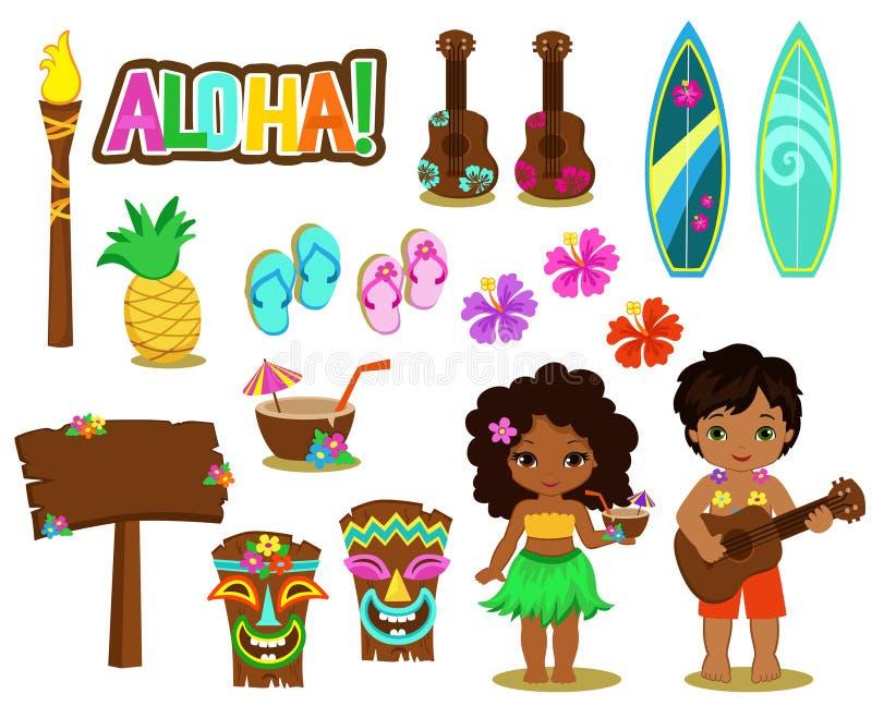 Colección del Hawaiian del ejemplo del vector foto de archivo