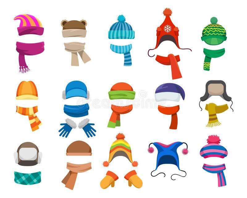 Colección del headwear del invierno o del otoño stock de ilustración