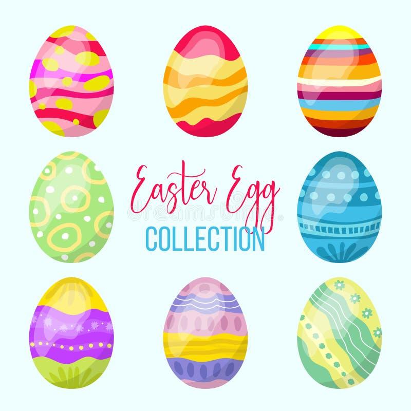 Colección del huevo de Pascua, elementos handdrawn coloridos, plantilla al día de fiesta de Pascua libre illustration
