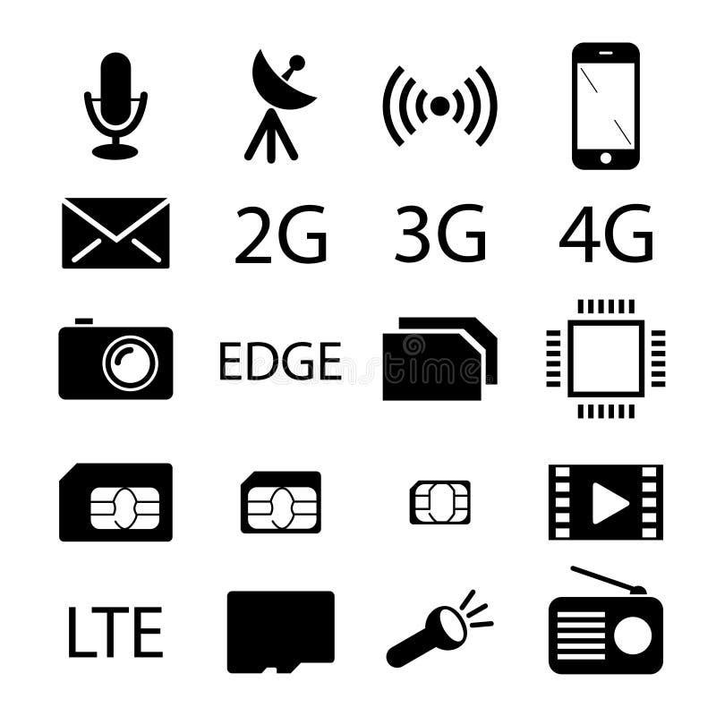 Colección del icono de la especificación del teléfono móvil stock de ilustración