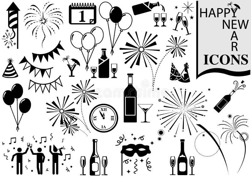 Colección del icono de la Feliz Año Nuevo stock de ilustración