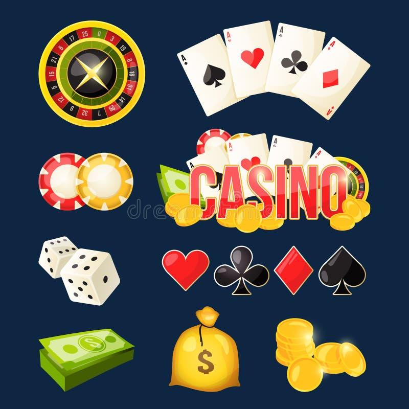 Colección del icono de la historieta de diverso casino de los juegos stock de ilustración