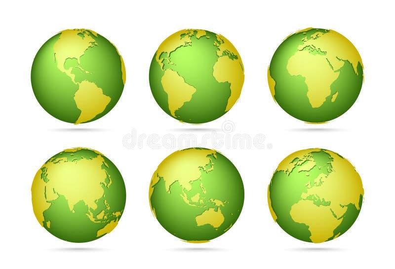 Colección del icono de los globos Mapa del mundo de color verde amarillo Planeta con los continentes ilustración del vector