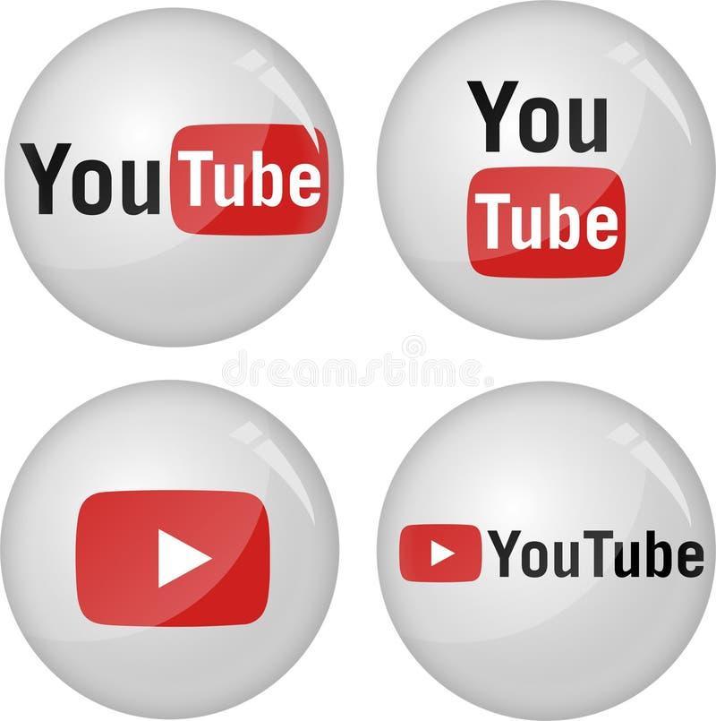 Colección del icono de YouTube stock de ilustración