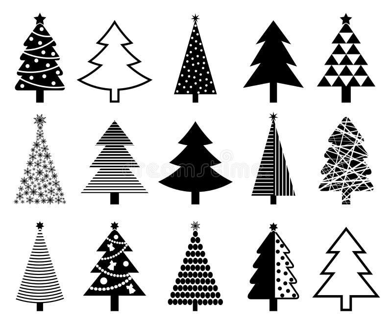 Colección del icono del árbol de navidad stock de ilustración