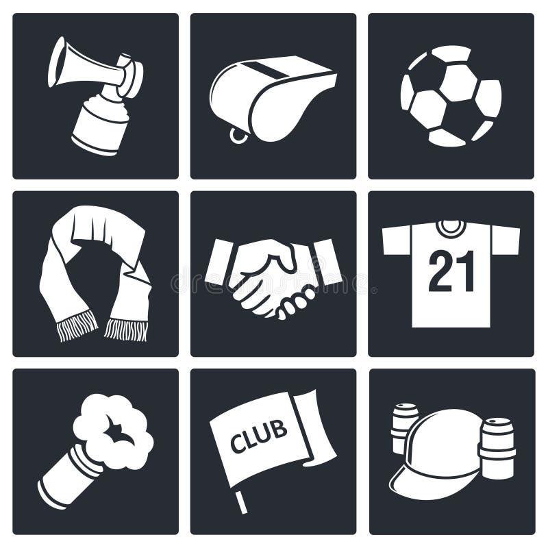 Colección del icono del aficionado al fútbol de las cualidades stock de ilustración