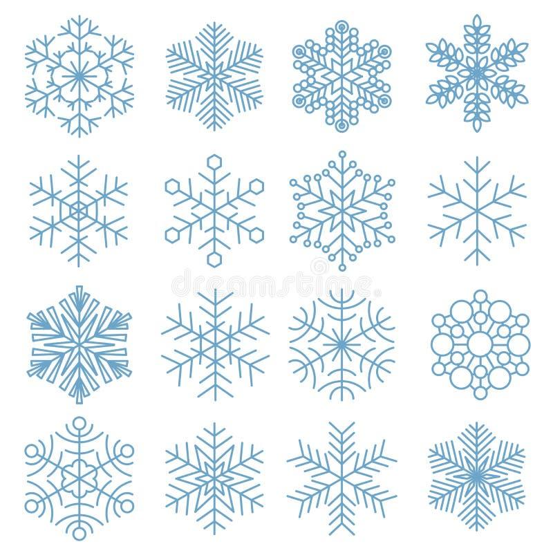 Colección del icono del copo de nieve stock de ilustración