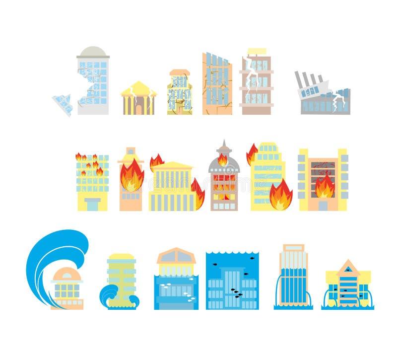 Colección del icono del desastre Destrucción del sistema de los edificios de iconos ilustración del vector