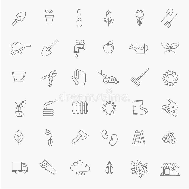 Colección del icono del esquema - flor y el cultivar un huerto stock de ilustración