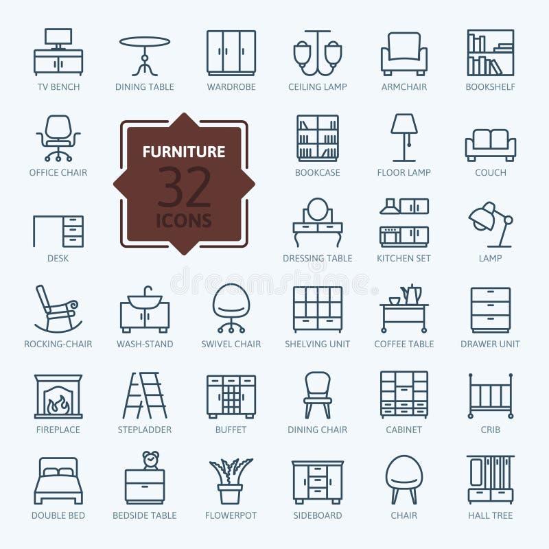 Colección del icono del esquema - muebles ilustración del vector
