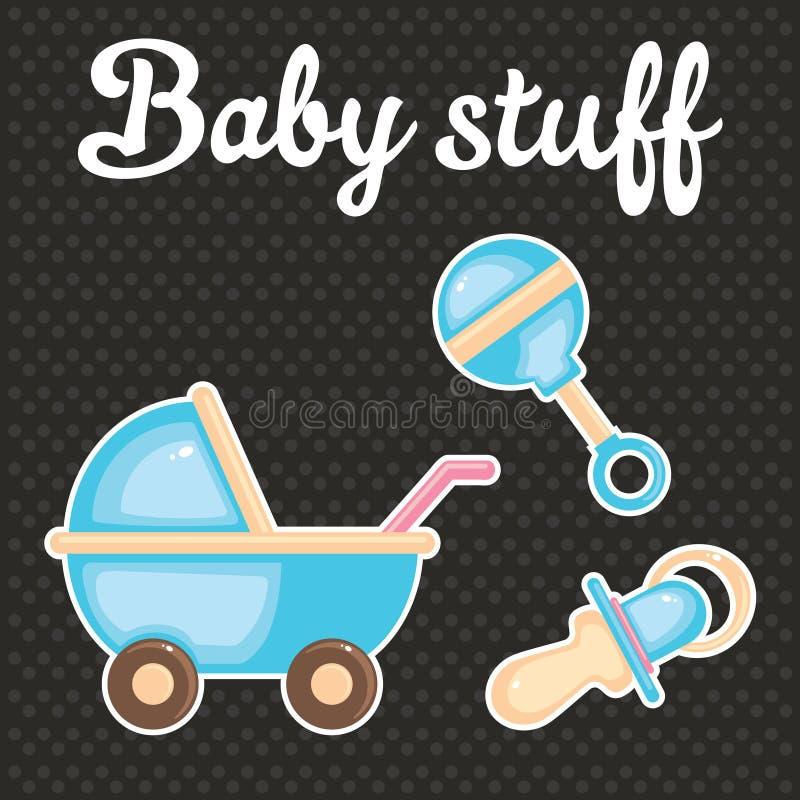 Colección del icono del libro de recuerdos del bebé stock de ilustración