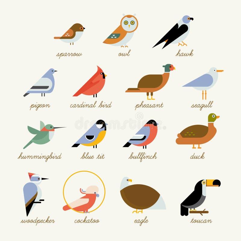 Colección del icono del pájaro libre illustration
