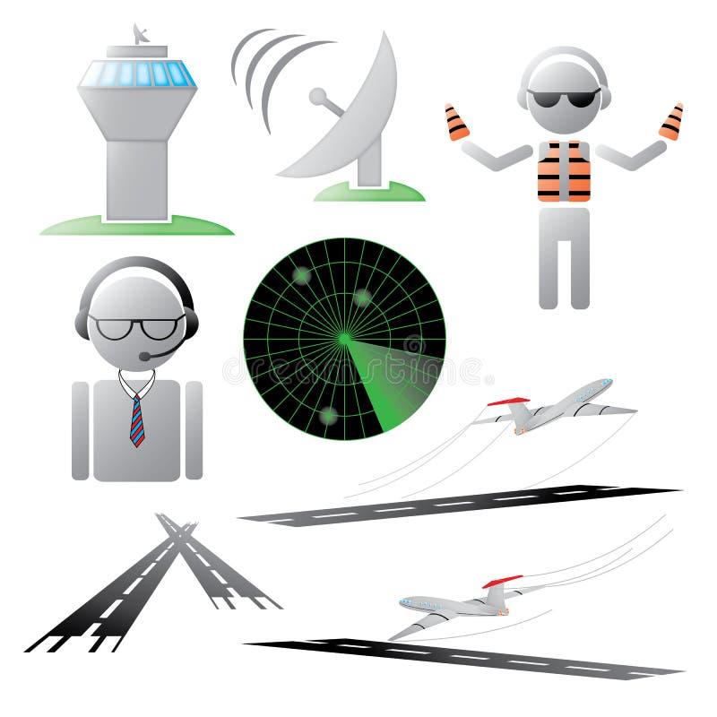 Colección del icono del tráfico aéreo stock de ilustración
