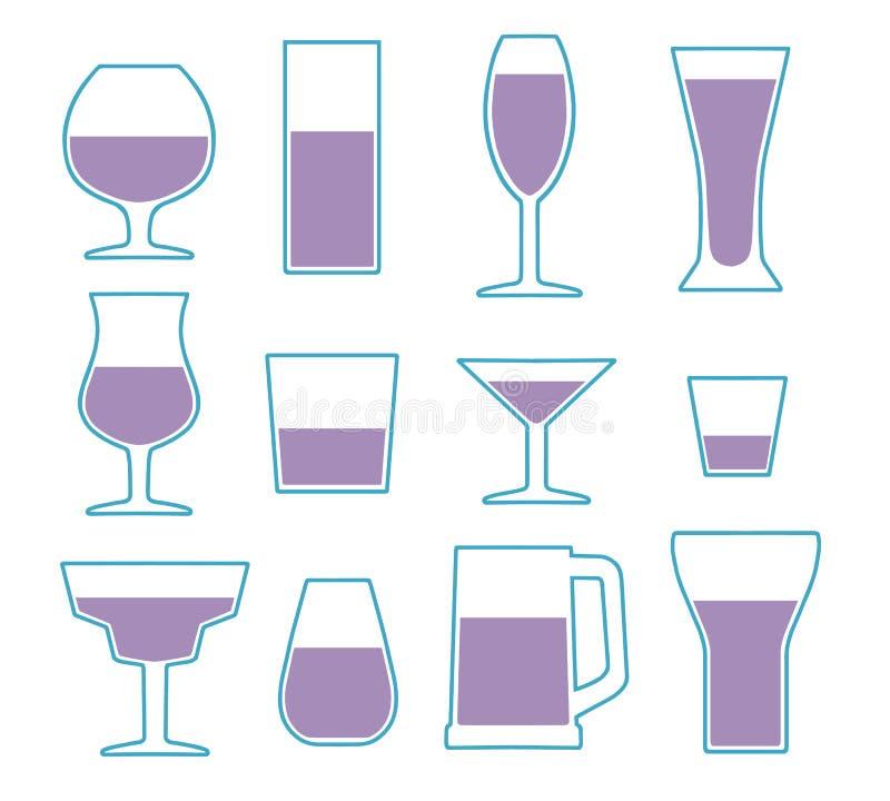 Colección del icono del vector fijada con diversos tipos de cristal simples de consumición stock de ilustración