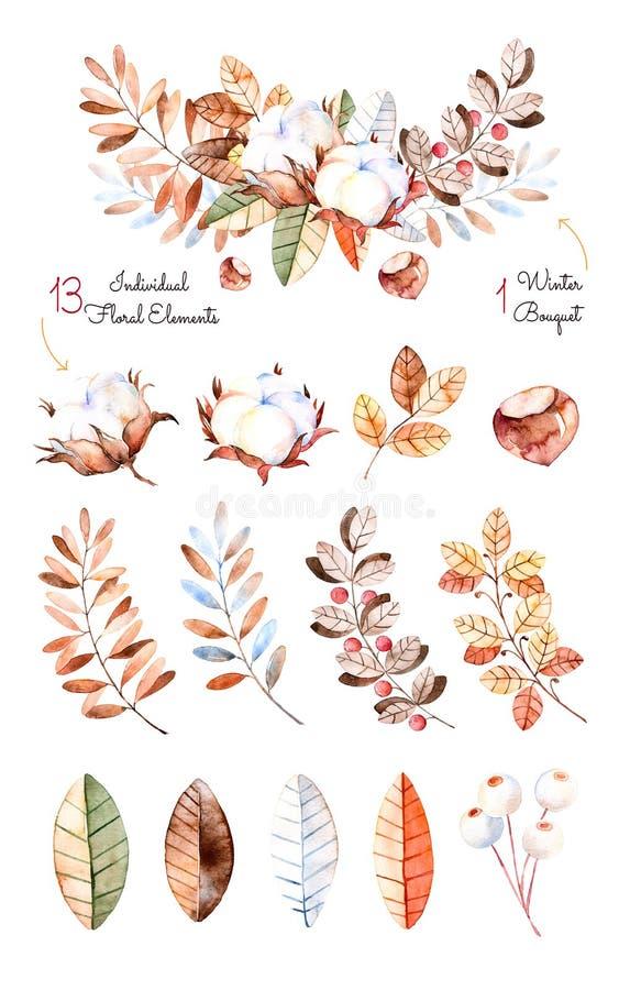 Colección del invierno con 13 elementos pintados a mano de la acuarela + 1 ramo del invierno stock de ilustración