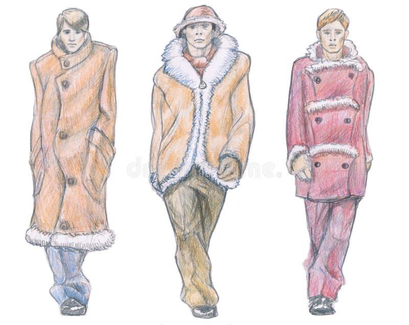 Colección del invierno del desfile de moda de los hombres ilustración del vector
