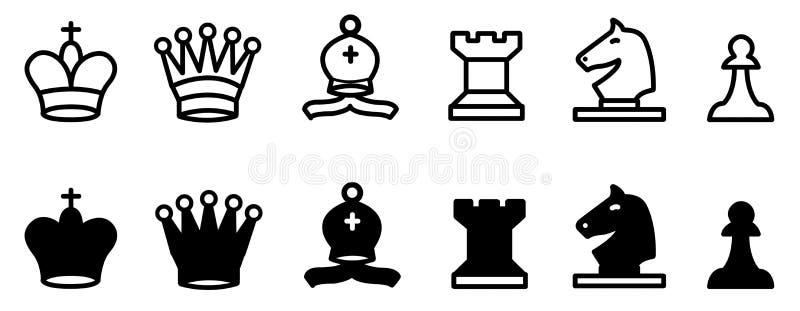 Colección del juego de ajedrez ilustración del vector