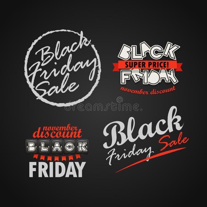 Colección del logotipo de la venta de Black Friday Banderas estupendas de la venta de noviembre v libre illustration