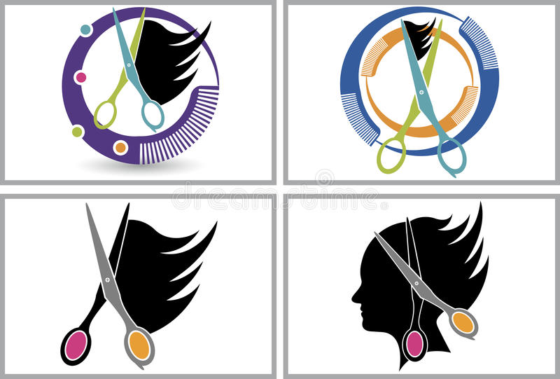 Colección del logotipo del corte del pelo ilustración del vector