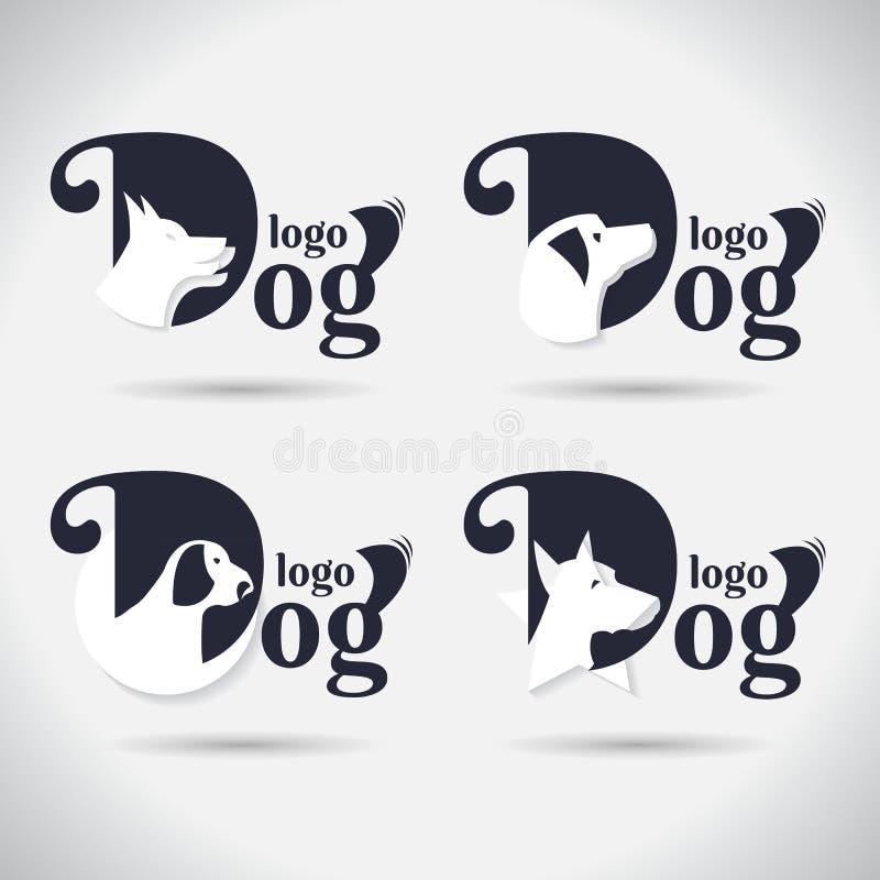 Colección del logotipo del perro del logotipo Animal fuente Freeform Símbolo Extracto Ilustración del vector En el fondo blanco stock de ilustración