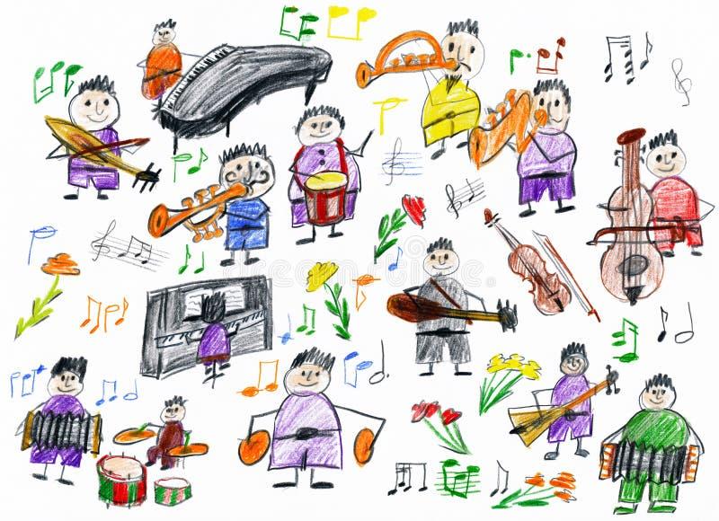Colección del músico de la gente de la historieta, objeto de la orquesta, niños que dibujan en el papel, imagen dibujada mano del stock de ilustración
