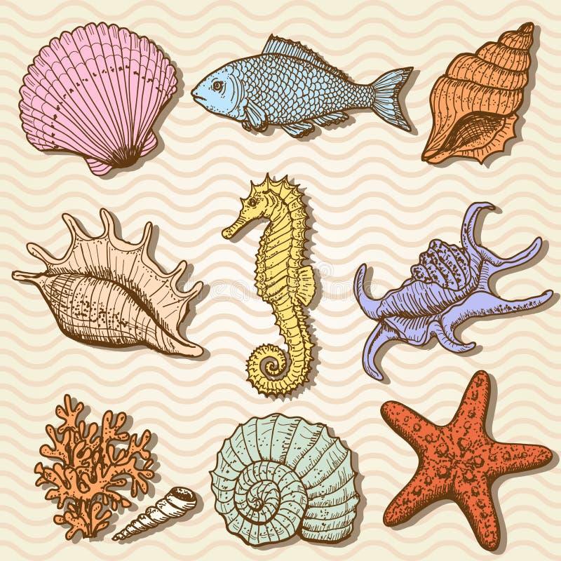 Colección del mar. Ejemplo dibujado mano original ilustración del vector