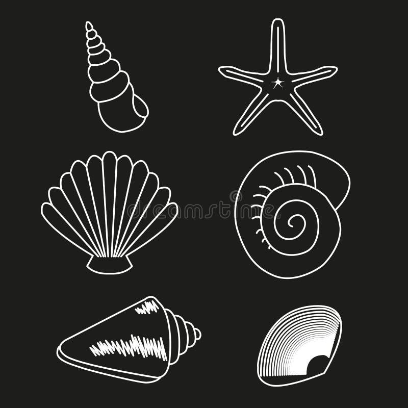 Colección del mar Ejemplo dibujado mano original 2 stock de ilustración