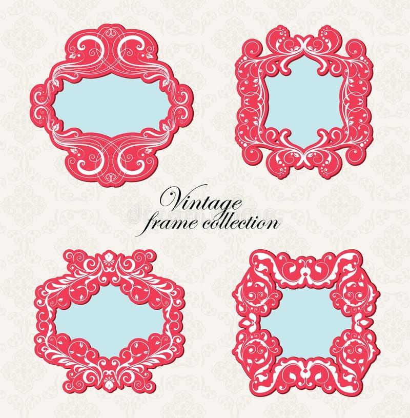 Colección del marco de la vendimia ilustración del vector