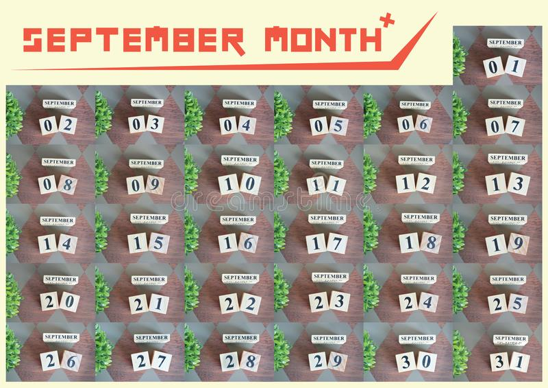 Colección del mes de septiembre para el fondo imagenes de archivo