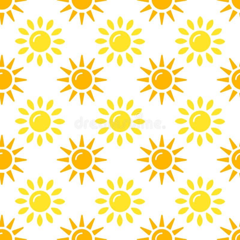 Colección del modelo de Sun Sistema de papel inconsútil con los iconos planos de la sol en el fondo blanco Ilustración del vector stock de ilustración
