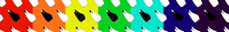 Colección del modelo inconsútil cuatro con las ovejas en estilo del bebé Imagen del vector biue, amarillo, rosa, backgraund verde stock de ilustración