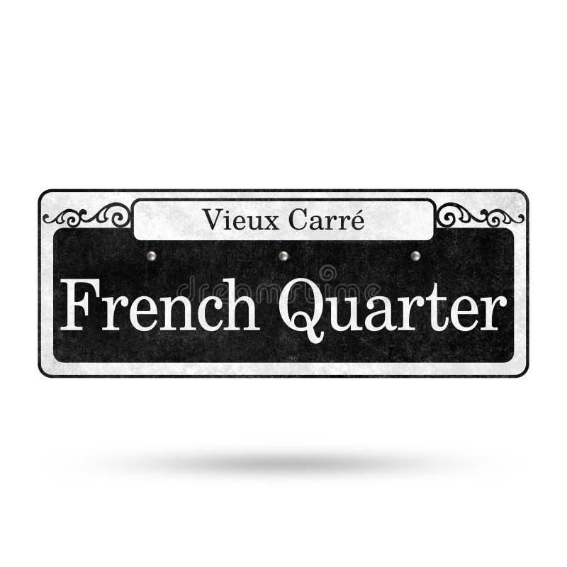 Colección del nombre de la calle del barrio francés de las placas de calle de New Orleans ilustración del vector