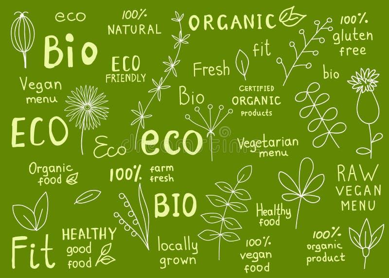 Colección del 100% orgánico, natural, bio, granja, eco, etiqueta de la comida libre illustration