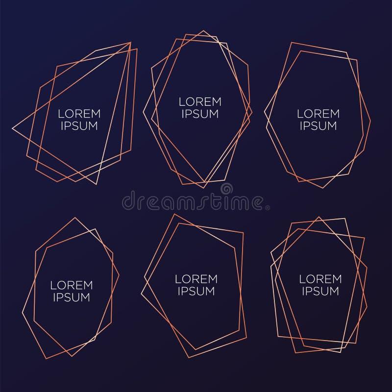 Colección del oro del poliedro geométrico, estilo del art déco para casarse la invitación y la fiesta de cumpleaños, plantillas e libre illustration