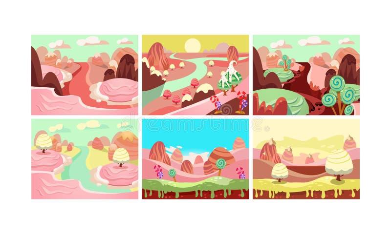 Colección del paisaje del cuento de hadas, tierra del caramelo, detalles para el ejemplo del vector del interfaz del juego de ord ilustración del vector