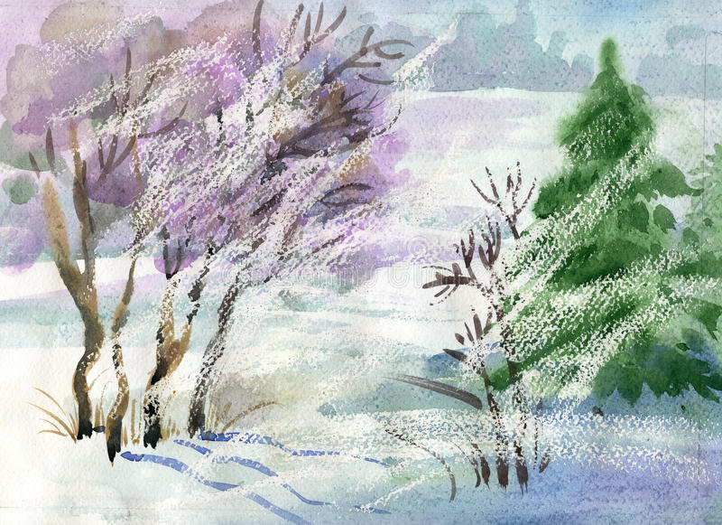 Colección del paisaje de la acuarela: Invierno ilustración del vector