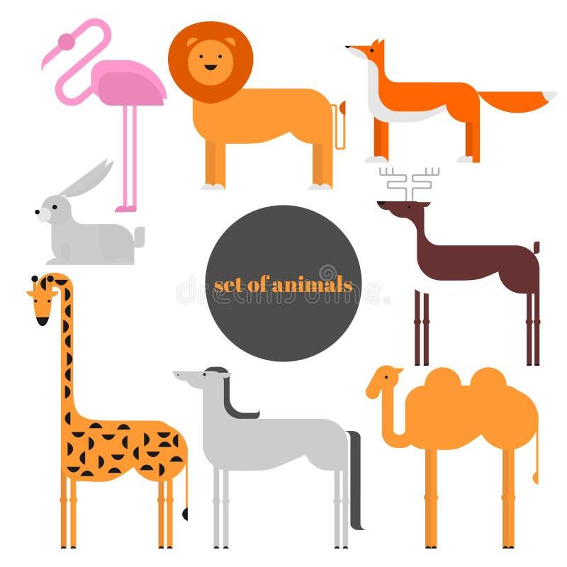 Colección del parque zoológico de la fauna de animales lindos de la historieta Fauna grande del sistema del icono del mundo aisla ilustración del vector