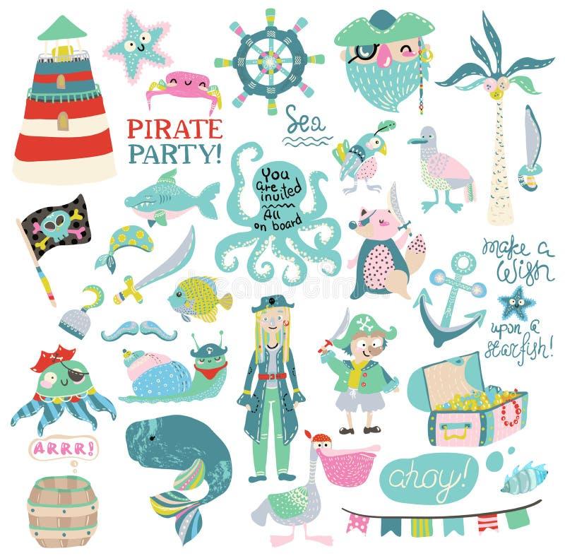 Colección del partido del pirata stock de ilustración