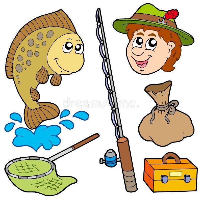Colección del pescador de la historieta stock de ilustración