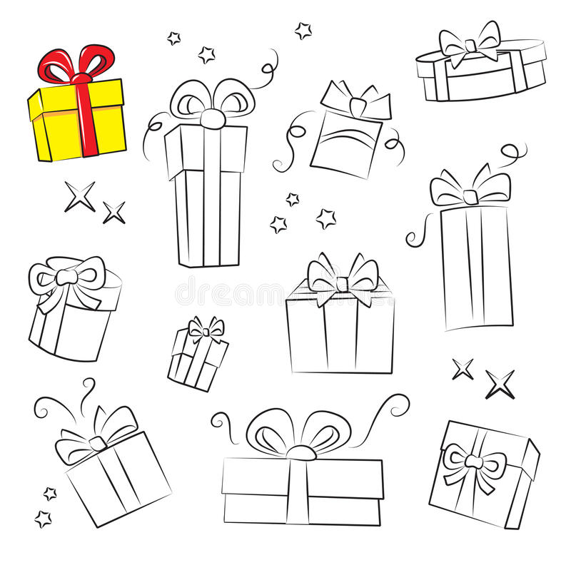 Colección del rectángulo de regalo. ilustración del vector