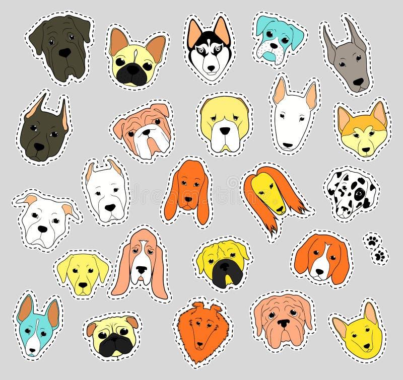 Colección del remiendo de los animales de perros criados en línea pura correcciones stock de ilustración