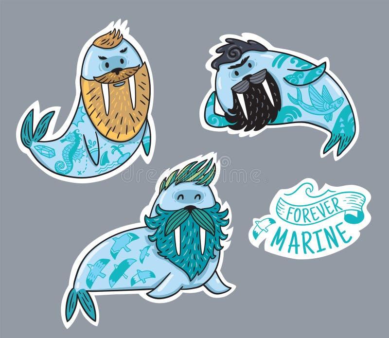 Colección del remiendo de los animales de morsas del inconformista con las barbas y de tatuajes en estilo de la historieta Etique stock de ilustración