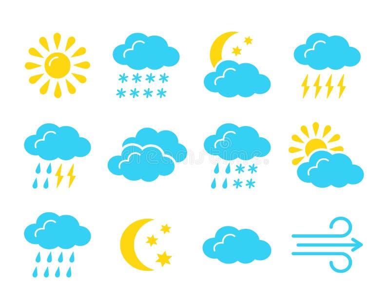 Colección del símbolo de la previsión metereológica Icono plano fijado por días soleados, lluviosos, nublados Meteo y muestras de ilustración del vector