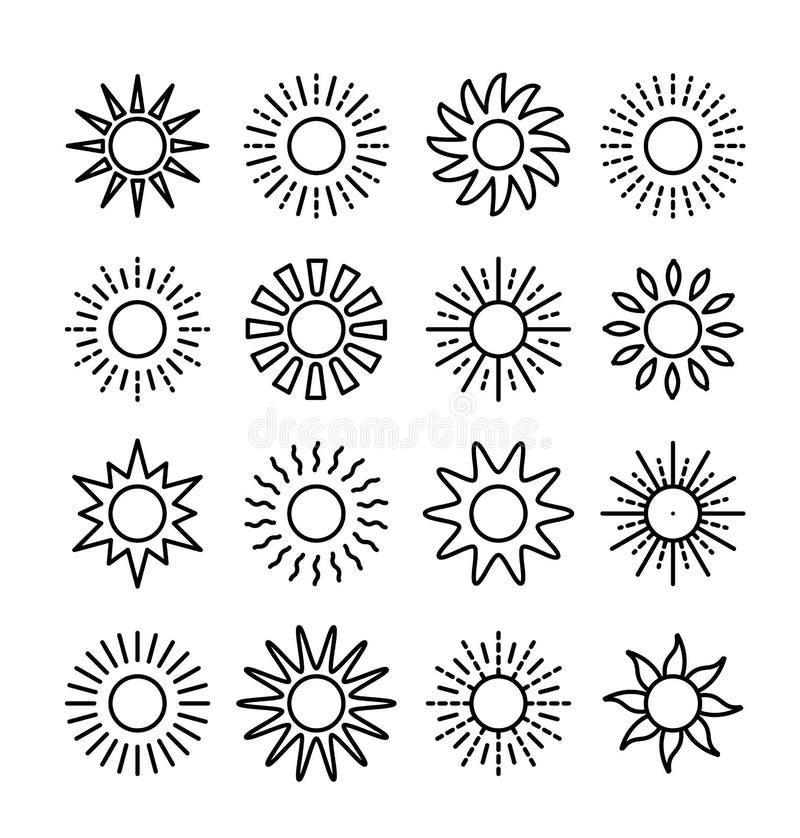 Colección del símbolo de Sun Línea sistema del icono del vector Muestras de la luz del sol Objetos aislados de la previsión meter ilustración del vector