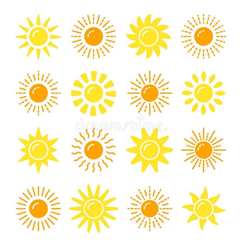 Colección del símbolo de Sun Sistema plano del icono del vector Muestras de la luz del sol La previsión metereológica aisló el ob stock de ilustración